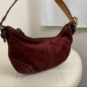 Coach Red Suede Hobo Bag